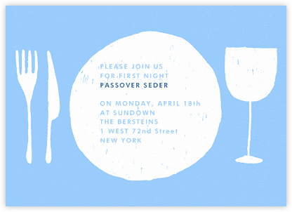 Place Setting - Light Blue and White - Paperless Post - Passover invitations