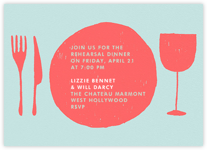 Place Setting - Coral and Celadon - Paperless Post - Online Party Invitations