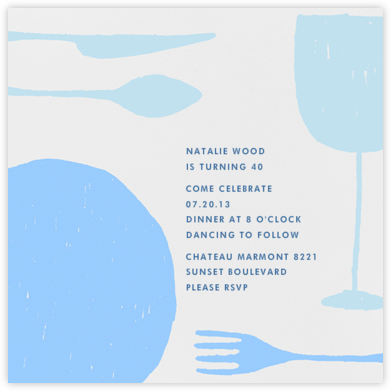 Place Setting (Square) - Light Blue - Paperless Post - Birthday invitations