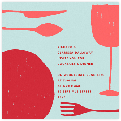 Place Setting (Square) - Red - Paperless Post - Dinner Party Invitations