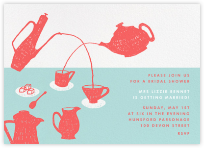 Pour Me A Cup - (Coral And Celadon) - Paperless Post - Bridal shower invitations