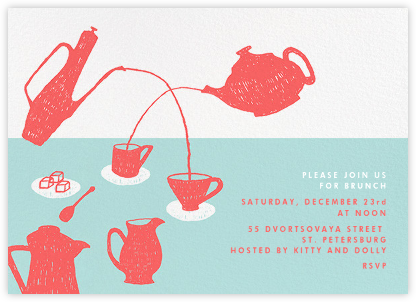 Pour Me A Cup - (Coral And Celadon) - Paperless Post - Brunch invitations