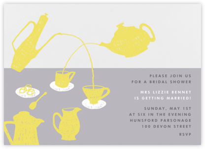 Pour Me A Cup - (Chartreuse And Gray) - Paperless Post - Bridal shower invitations
