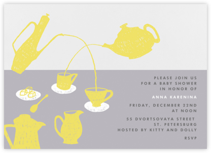 Pour Me A Cup - (Chartreuse And Gray) - Paperless Post - Baby Shower Invitations