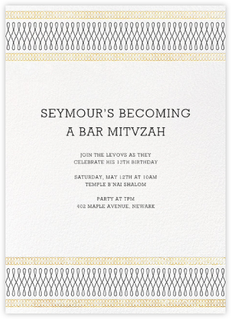 Spirals (Invitation) - Gold - Paperless Post - Bat and Bar Mitzvah Invitations