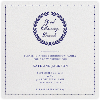 Good Morning, Brunch - Mr. Boddington's Studio - Wedding Weekend Invitations