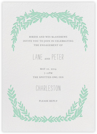 Laurel in Love - Sea Green - Mr. Boddington's Studio - Engagement party invitations