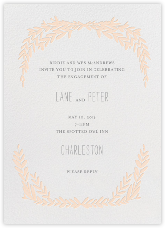Laurel in Love - Peach - Mr. Boddington's Studio - Engagement party invitations