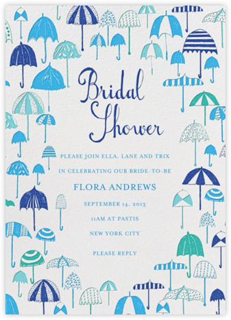 Umbrella Shower - Blues - Mr. Boddington's Studio - Bridal shower invitations