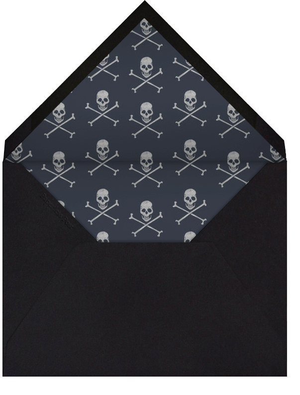Skull and Cross Bones - chip board with silver - Paperless Post - Personalized stationery - envelope back
