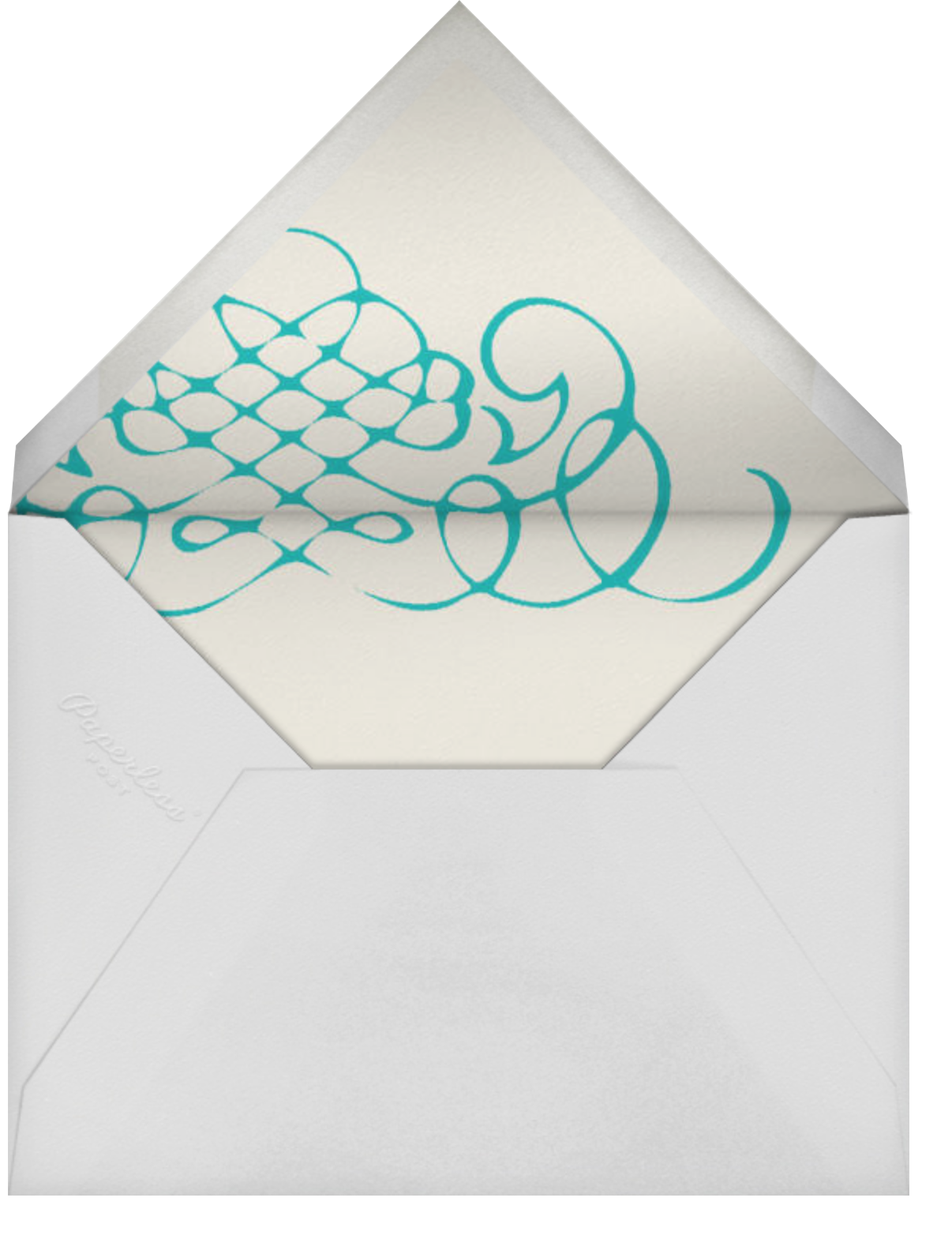Antique Press- Cream with Teal (Horizontal) - Paperless Post - General - envelope back