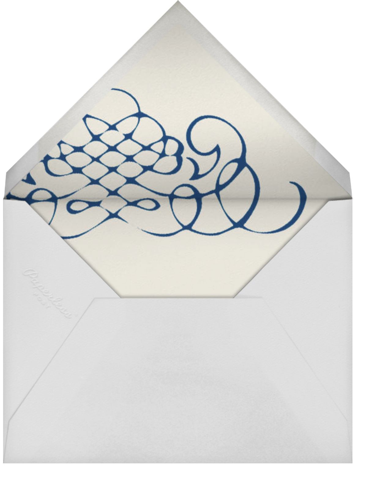 Antique Press- Cream with Dark Blue (Horizontal) - Paperless Post - Envelope
