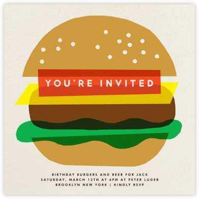 Burger Beer - The Indigo Bunting - Adult birthday invitations