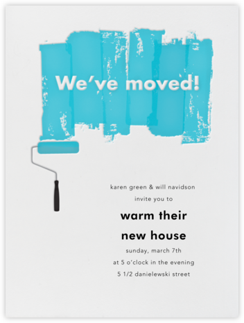 Paint Roller (Blue on Ivory) - Paperless Post - Housewarming party invitations