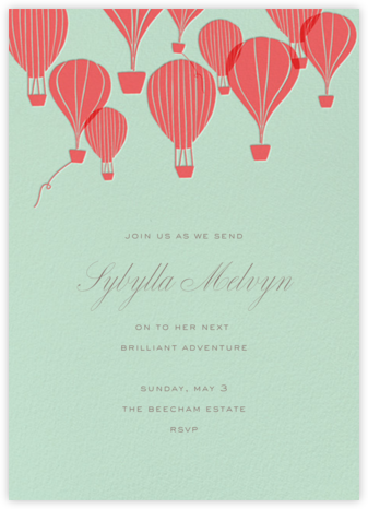 Hot Air Balloon Cluster - Mint/Coral - Paperless Post - Retirement invitations, farewell invitations