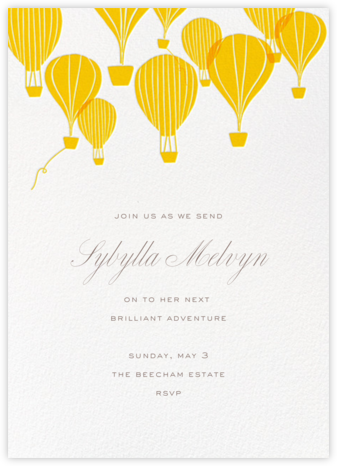 Hot Air Balloon Cluster - White/Mustard - Paperless Post - Retirement invitations, farewell invitations