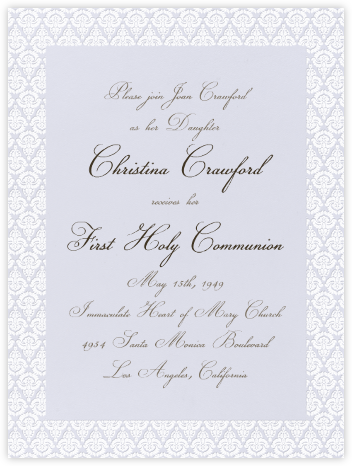 Brocade - Mist with Ivory (Tall) - Paperless Post - First communion invitations