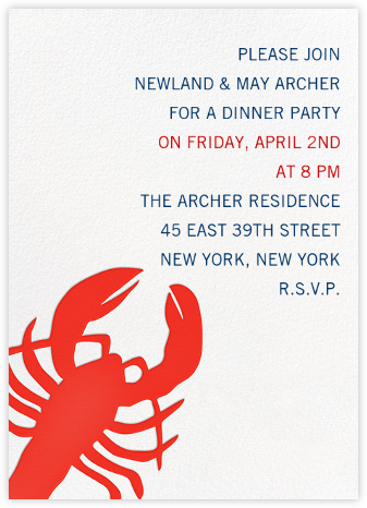 Large Lobster - Linda and Harriett - Dinner party invitations
