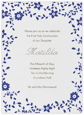 Vintage Flower - Navy - Linda and Harriett - First communion invitations