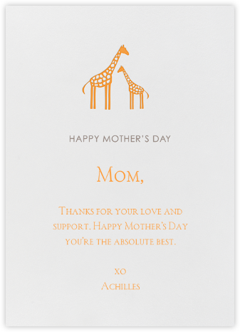 Giraffe - Linda and Harriett - Mother's day cards