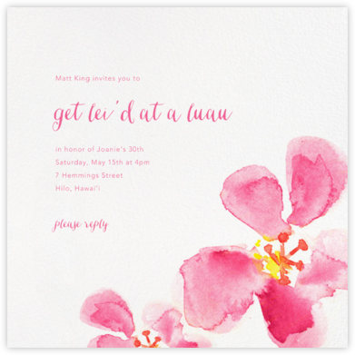 Hawaiian Flower - Paperless Post - Pool Party Invitations