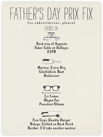 Father's Day Prix Fix - Mr. Boddington's Studio - Mr. Boddington's studio