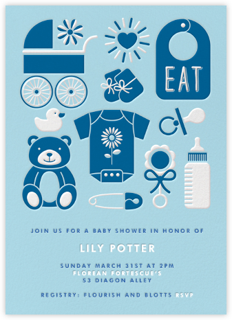 Baby Gear - Blue - Paperless Post - Baby shower invitations