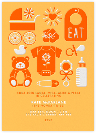 Baby Gear - Orange - Paperless Post - Baby Shower Invitations