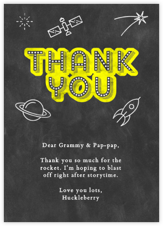 Space Chalk Thank You - Paperless Post - Online Cards