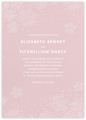 Blossoms on Tulle I - Pink - Oscar de la Renta - Online Wedding Invitations