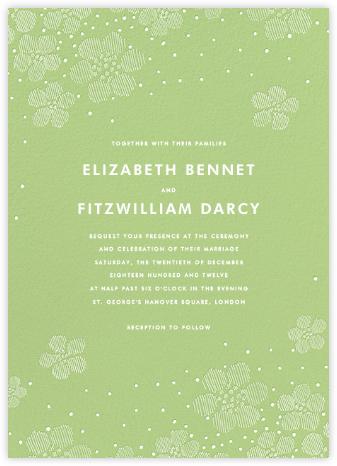 Blossoms on Tulle I - Green - Oscar de la Renta - Oscar de la Renta Wedding Invitations