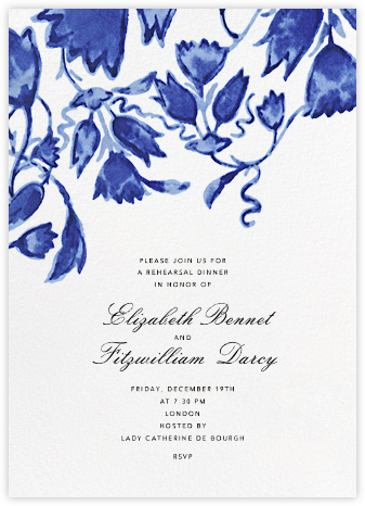 Watercolor Floral - Blue - Oscar de la Renta - Wedding Weekend Invitations