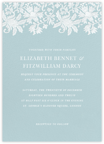 Leaf Lace I - Blue - Oscar de la Renta - Wedding invitations
