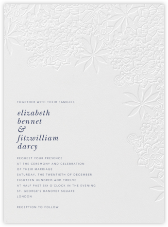 Floral Guipure - Blind Deboss - Oscar de la Renta - Wedding Invitations