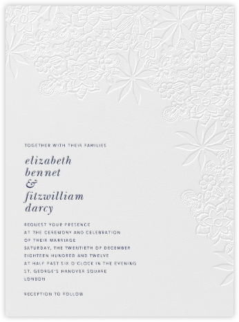 Floral Guipure - Blind Deboss - Oscar de la Renta - Oscar de la Renta invitations and save the dates