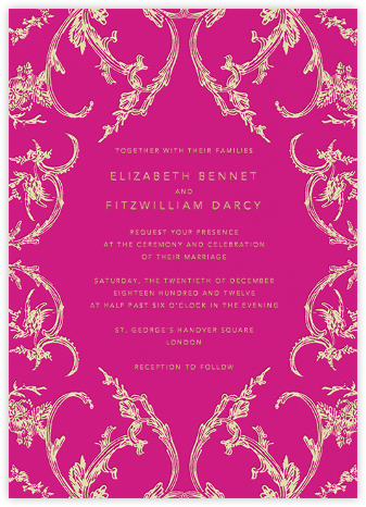 Silk Brocade II - Bright Pink - Oscar de la Renta - Wedding Invitations